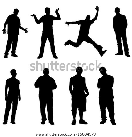 boys vectors sillhouettes 8 pics - stock vector