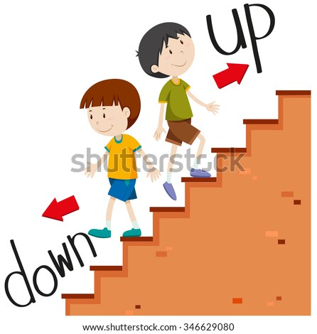 Boys walking up and down illustration - stock vector