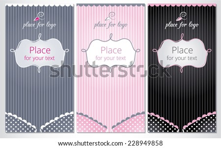 Bra with striped background and empty space for text. Set of vertical banners for Pajama Party, lingerie shop or underwear ad. Vector
