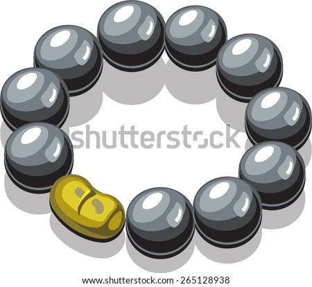 bracelet round black pearls - stock vector