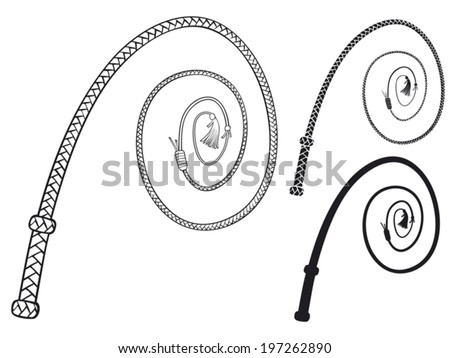 braided leather whip - stock vector