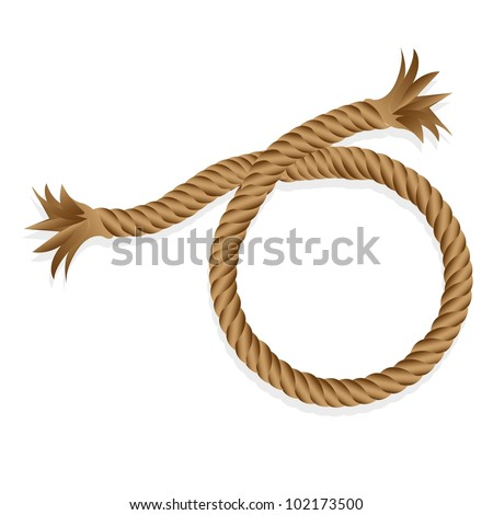 braided rope isolated on white background, vector illustration - stock vector