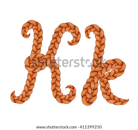 Braids font. Alphabet made from hairstyle plaits. Braided hair font. Letter K - stock vector