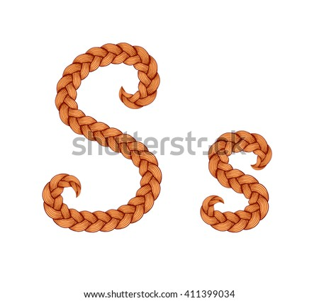 Braids font. Alphabet made from hairstyle plaits. Braided hair font. Letter S - stock vector