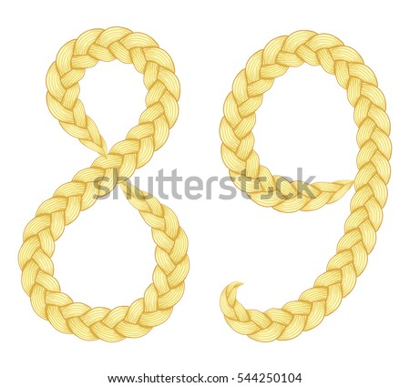 Braids font. Alphabet made from hairstyle plaits. Digits 8, 9