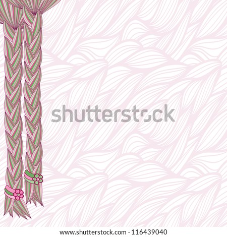 braids of hair on seamless pattern - stock vector