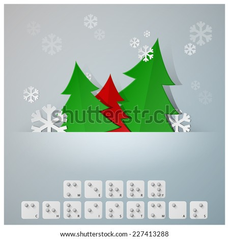 Braille Alphabet Christmas Background Banner With Paper Graphic Style - stock vector