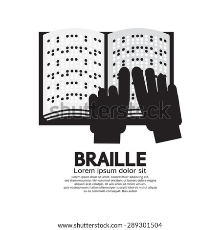 Braille Language Reading By The Blind Vector Illustration - stock vector