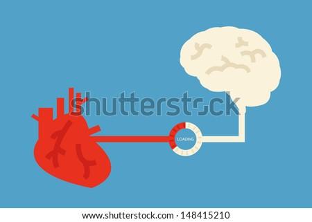 brain and heart design, vector - stock vector
