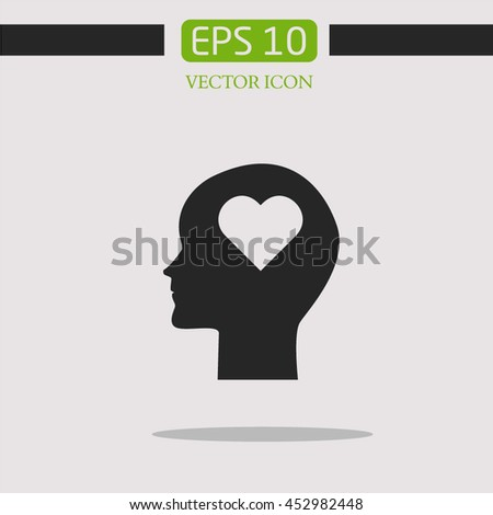 Brain and heart.Human profile with heart Icon. - stock vector