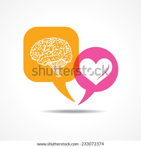 Brain and heart in message bubble stock vector - stock vector