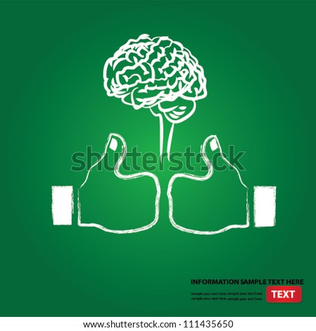 Brain and like sign on blackboard background,Vector - stock vector