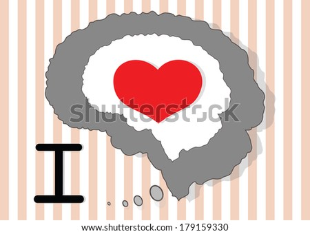 Brain and red heart on the beautiful icon - stock vector