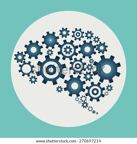 Brain build out of cogs and gears - stock vector