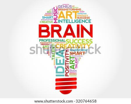 Brain bulb word cloud concept - stock vector
