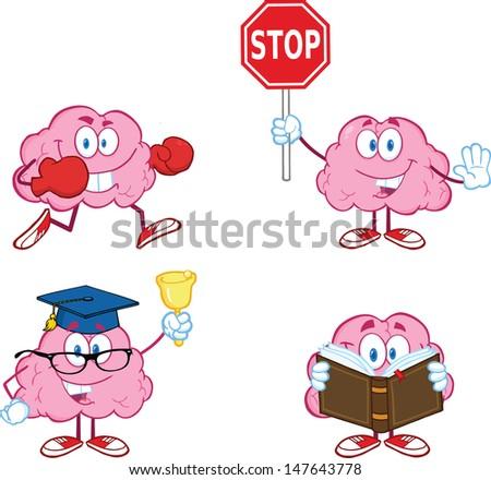 Brain Cartoon Mascot Collection 3 - stock vector