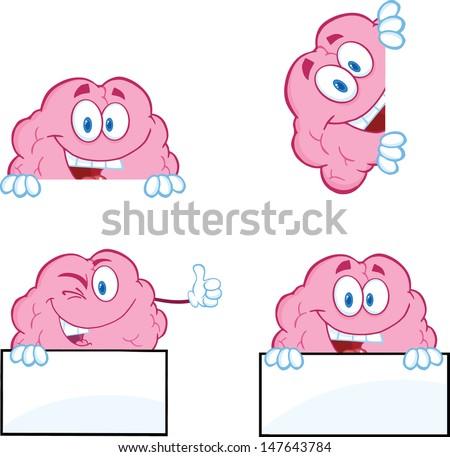 Brain Cartoon Mascot Collection 9 - stock vector