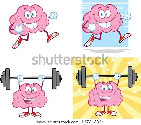 Brain Cartoon Mascot Collection 14 - stock vector