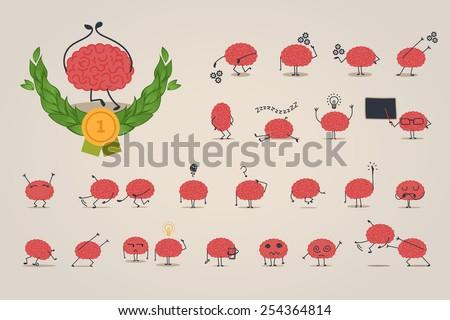 Brain character set - stock vector