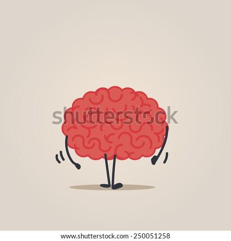 Brain character walking - stock vector
