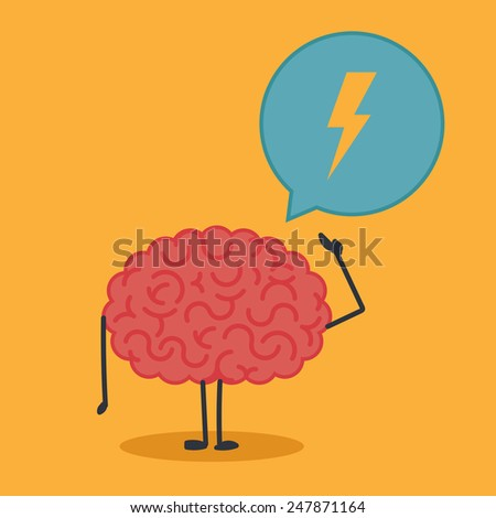 Brain character with a bubble chat - stock vector