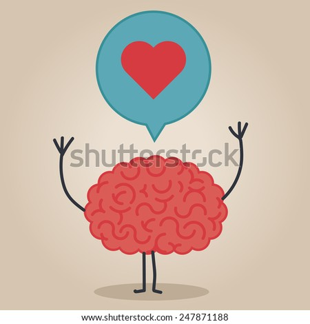 Brain character with a bubble chat: love - stock vector