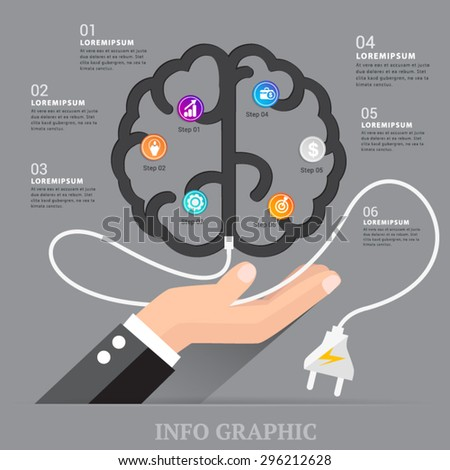 Brain chart energy with business concept. - stock vector
