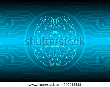 brain circuit abstract technology background - stock vector