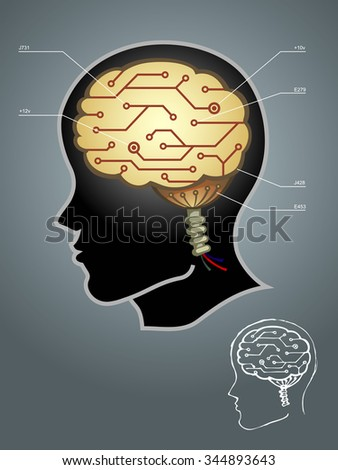 Brain Circuit-vector illustration of abstract concept of man and machine, properly group, color gradients