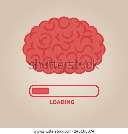 Brain concept illustration: loading - stock vector