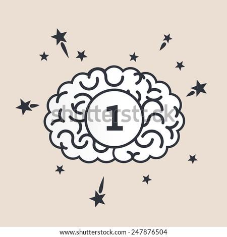 Brain concept illustration: medal winner - stock vector
