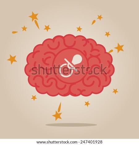 Brain concept illustration: new born - stock vector