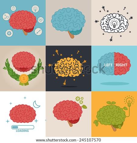 Brain concept set - stock vector