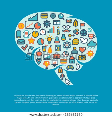 Brain concept. Vector illustration. Business, science, finance, weather icons and symbols for web site or infographics. Flat design in classic colors. Concept of communication and thinking. - stock vector