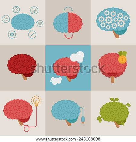Brain concepts set - stock vector