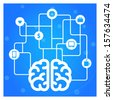 Brain connected with icons concept vector illustration   - stock vector