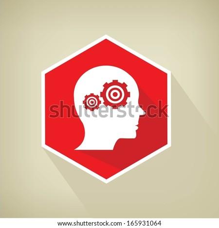 Brain control button,vector - stock vector