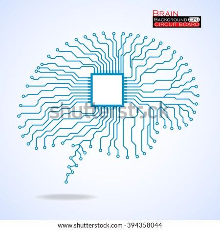 Brain. Cpu. Circuit board. Vector illustration. Eps 10 - stock vector