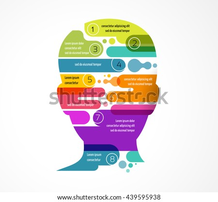 Brain, Creative mind, man head, learning and design infographics - stock vector