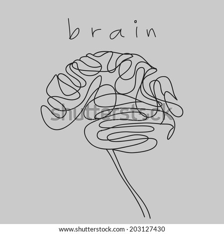 brain doodle hand drawn  - stock vector