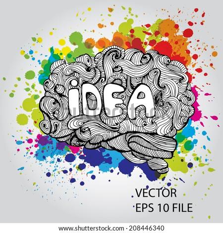 Brain doodles idea - vector illustration - stock vector