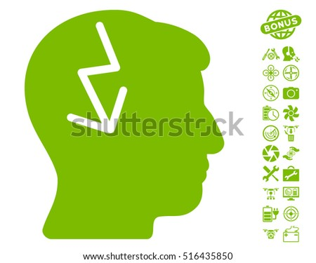 Brain Electric Strike pictograph with bonus quad copter service symbols. Vector illustration style is flat iconic symbols on white background.