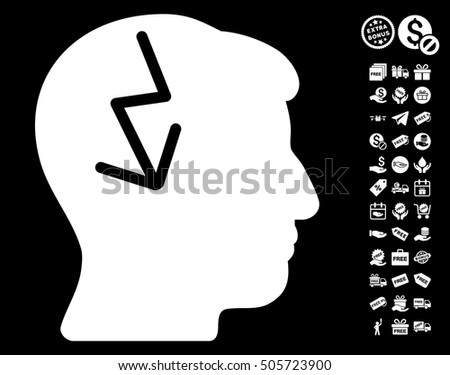 Brain Electric Strike pictograph with free bonus icon set. Vector illustration style is flat iconic symbols, white color, black background.