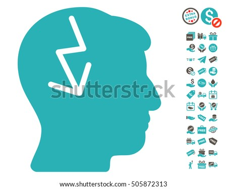 Brain Electric Strike pictograph with free bonus icon set. Vector illustration style is flat iconic symbols, grey and cyan colors, white background.
