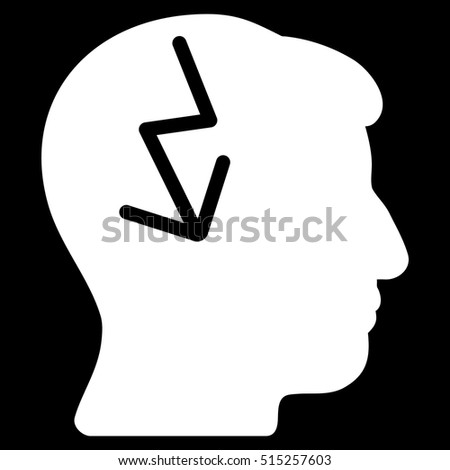 Brain Electric Strike vector icon. Style is flat graphic symbol, white color, black background.