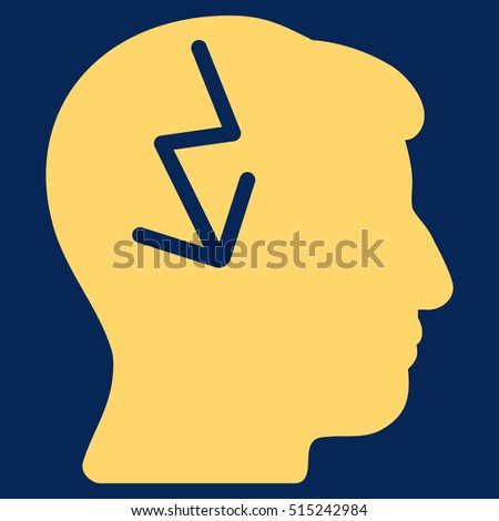 Brain Electric Strike vector pictogram. Style is flat graphic symbol, yellow color, blue background.