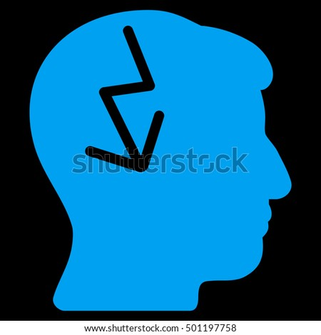 Brain Electric Strike vector pictograph. Style is flat graphic symbol, blue color, black background.