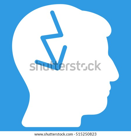 Brain Electric Strike vector pictograph. Style is flat graphic symbol, white color, blue background.