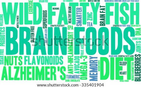 Brain Food word cloud on a white background.  - stock vector