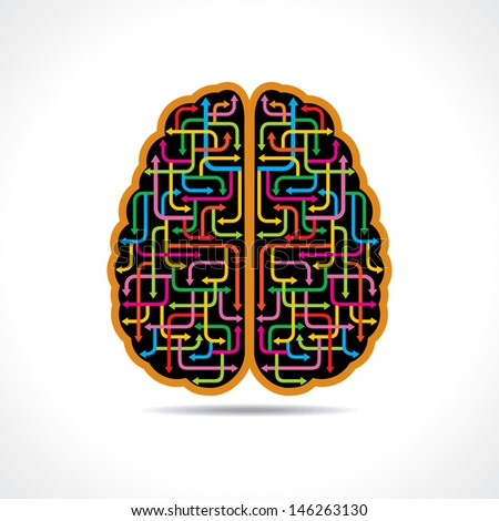 Brain forming of colorful arrows - stock vector